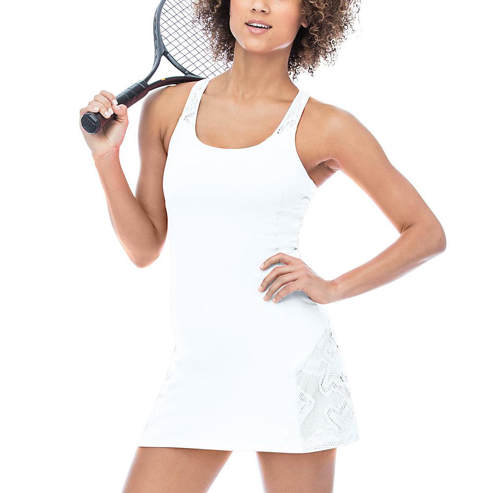ace racer back dress in white