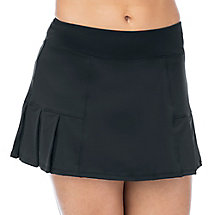 pleated bottom skort in black