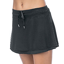 crochet mesh skort in black