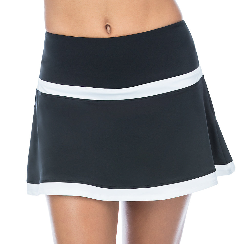 contrast ruffle skort in black