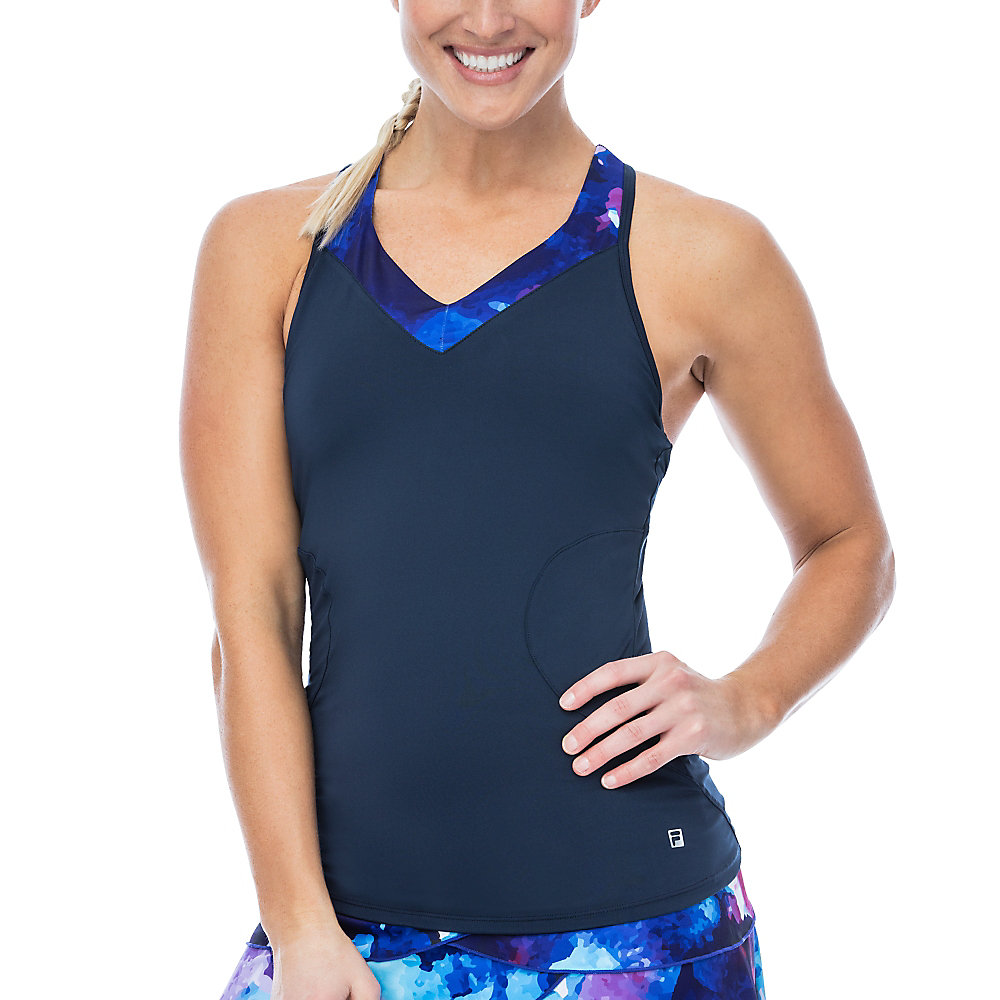 print trim racerback tank in navy