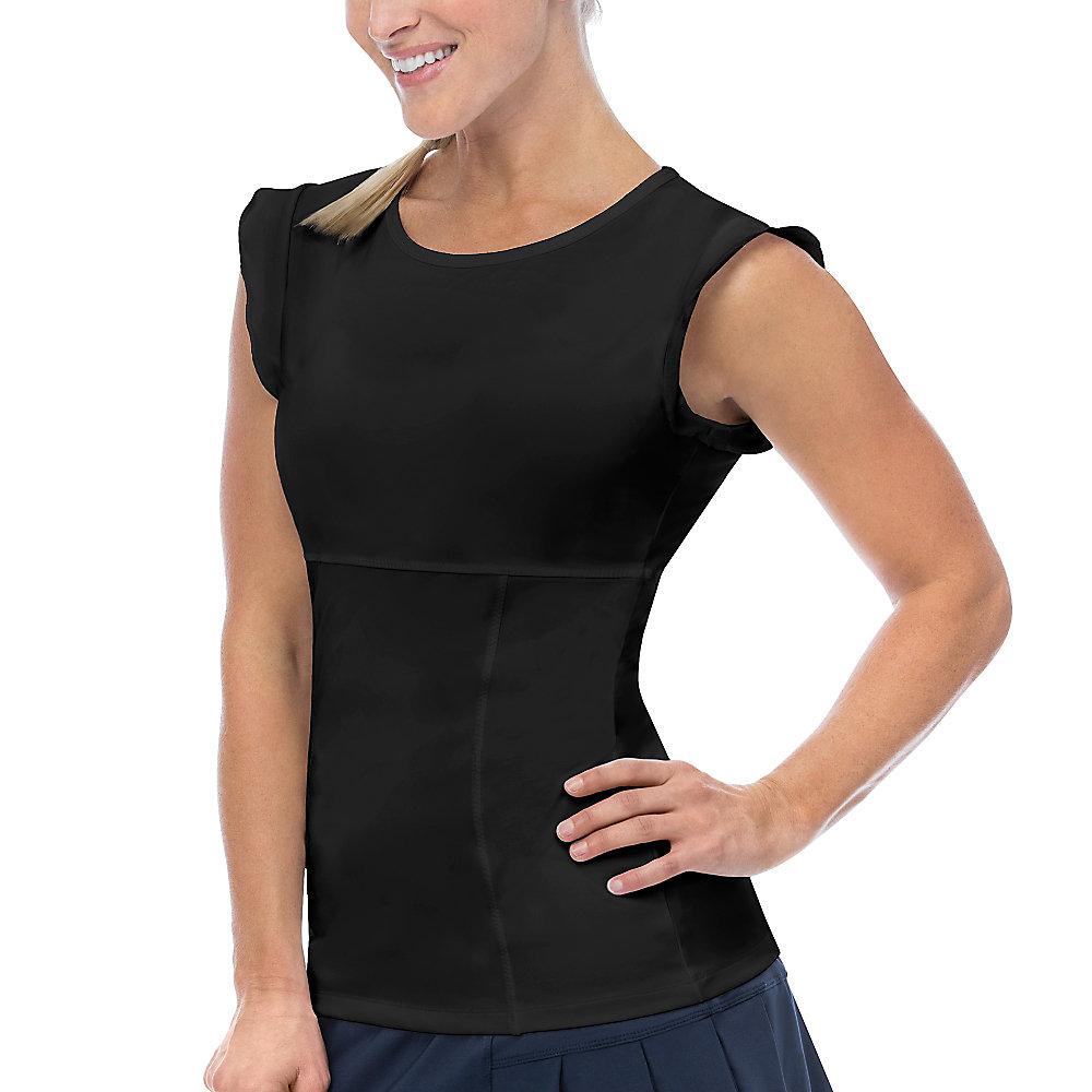 ruffle sleeve top in black