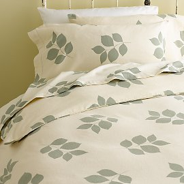 Organic Pressed Leaves Flannel Flat Sheet