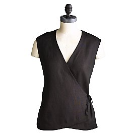 Linen Chi Wrap Top Black Large - Gaiam :  pants suit green wrap sleeveles