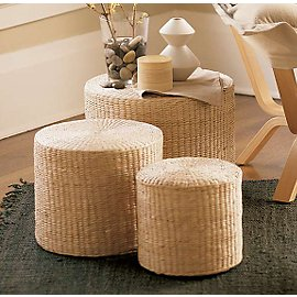 Made of a dense, grassy-textured renewable plant fiber, Rush Ottomans are tightly woven around a sturdy wood frame that's lightly cushioned on top. The set of three are sized S-M-L and invisibly sto :  home furniture home decor living