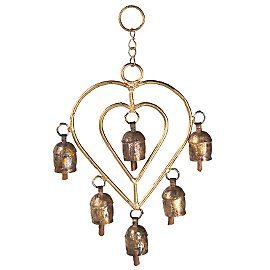 From a fair trade group  Six hammered copper bells hang from hand-forged double hearts and sweetly chime indoors or out. Limited quantity. A Gaiam exclusive. India.