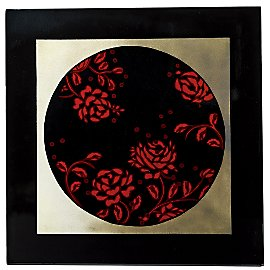Gaiam :  gaiam red rose framed lacquer plaque plaque gaiam