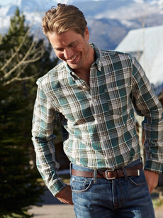 grey/green plaid shirt