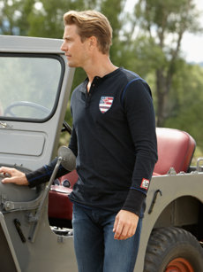 usa swiss cross henley
