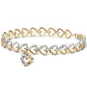 10K Gold Two-Tone Heart Charm Bracelet