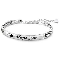 Inspired Moments™ Silver Faith, Hope, Love Bracelet