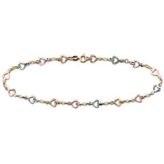 10K Gold Tri-Color Heart Ankle Bracelet
