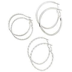 Decree® Silver-Tone 3-pr. Hoop Earrings