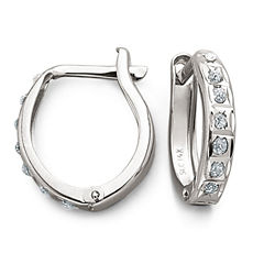 Diamond-Accent 14K White Gold Diamond Fascination™ Hoops