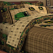 John Deere® Tractor and Plaid Sheet Set