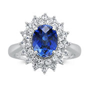 Sterling Silver Lab Created Sapphire Ring