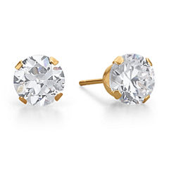 Cubic Zirconia Stud Earrings, 10K Gold Round