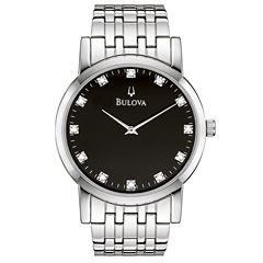 Bulova® Mens Silver-Tone Diamond-Accent Watch 96D106