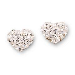 Silver Treasures Crystal Heart Stud Earrings