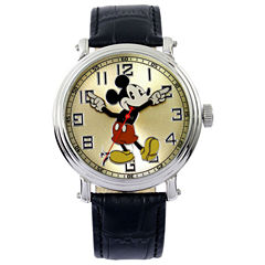Disney Vintage Mickey Black Leather Strap Watch