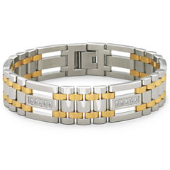 Mens Two-Tone Stainless Steel Cubic Zirconia Bracelet