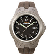 Timex® Expedition Mens Brown Leather Strap Gunmetal Watch