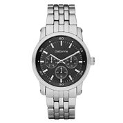 Claiborne Mens Black & Silver-Tone Multifunction Watch