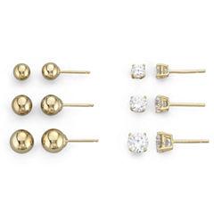 18K/Silver 6-Pair Stud Earring Set