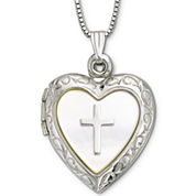 Mother-of-Pearl Heart & Cross Locket