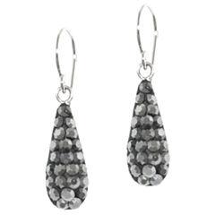 Sterling Silver Grey Crystal Drop Earrings