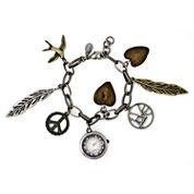 Decree® Womens Feather Charm Bracelet Watch