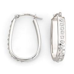 Diamond Fascination™ 21mm Pear-Shaped Hoop Earrings