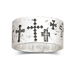 Sterling Silver Walk Beside Me Cross Ring