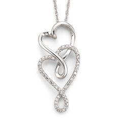 Infinite Promise 1/10 CT. T.W. Diamond Hearts Silver Pendant Necklace