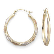 14K Gold Tri-Tone Aztec Hoop Earrings