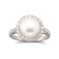 Cultured Freshwater Pearl & White Sapphire Ring