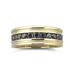 Mens 1/2 CT.T.W. Black Diamond Ring 14K Gold Over Silver