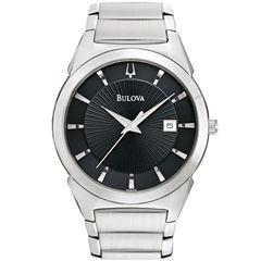 Bulova® Mens Black-Dial Silver-Tone Watch