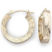10K Gold Diamond-Cut Hoop Earrings