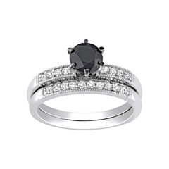 Midnight Black Diamond 1 1/3 CT. T.W. Diamond Bridal Ring Set