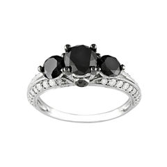 Midnight Black Diamond 2 CT. T.W. White & Color-Enhanced Black Diamond 10k White Gold 3-Stone Ring