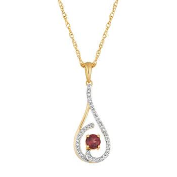 Womens 18 Ct Tw Genuine Red Garnet 10k Gold Pendant Necklace