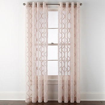 Jcpenney Home Zuri Clipped Sheer Grommet top Curtain Panel