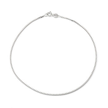 Sterling Silver 10 Inch Solid Box Ankle Bracelet