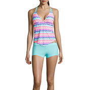 Arizona Ziggy Chevron Tankini Swim Top And Solid Boyshort Swim Bottom - Juniors
