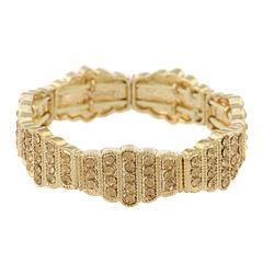 Monet® Gold-Tone Brown Stone Stretch Bracelet