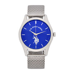 U.S. Polo Assn. Mens Silver Tone Strap Watch-Usc80506jc
