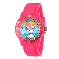 Disney Tinker Bell Womens Pink Strap Watch-Wds000064