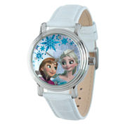 Disney Frozen Anna and Elsa Womens White Leather Strap Watch-W002036