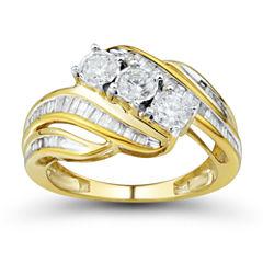 Womens 1 CT. T.W. Round White 10K Gold 3-Stone Ring